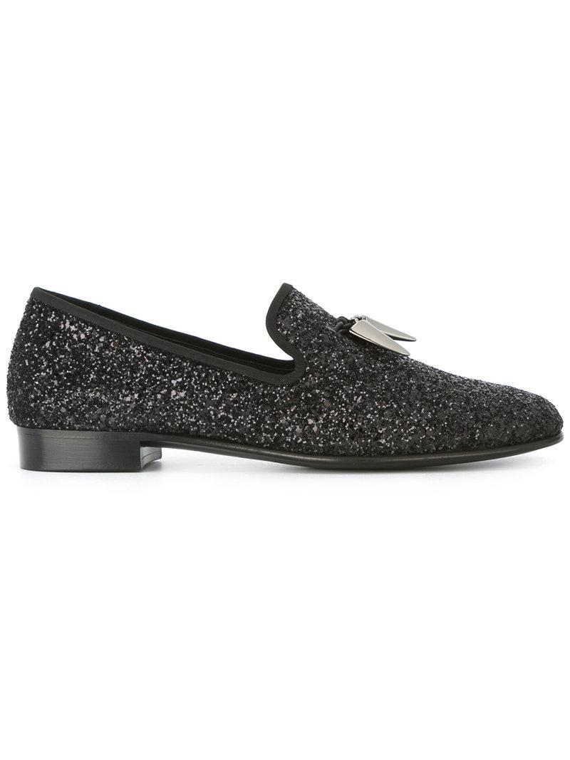 Giuseppe Zanotti Velvet slip-on loafer with 'Logo' motif REGAL G PkGk9