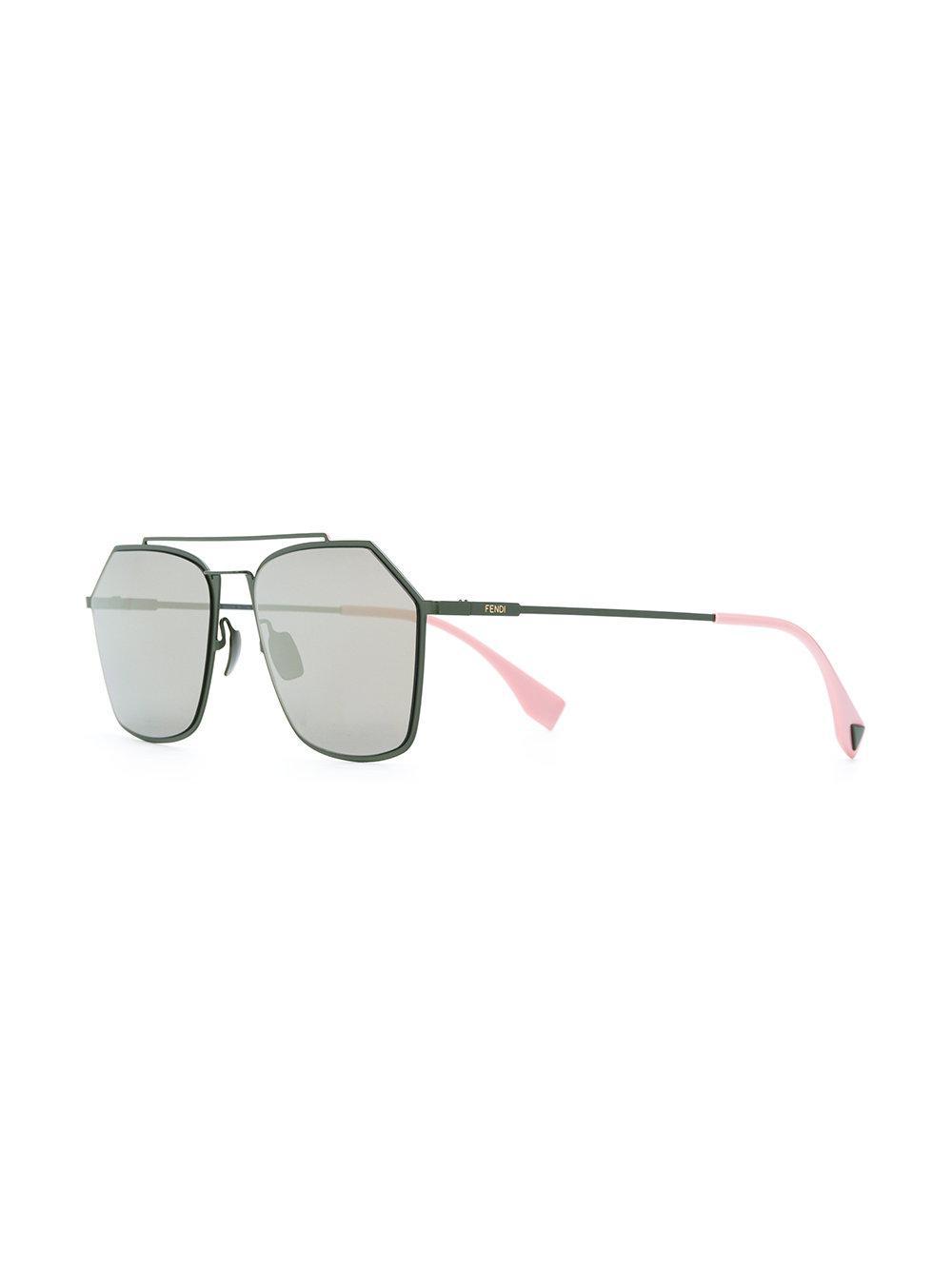 7f769089cde Fendi Pentagon Aviator Sunglasses in Green - Lyst