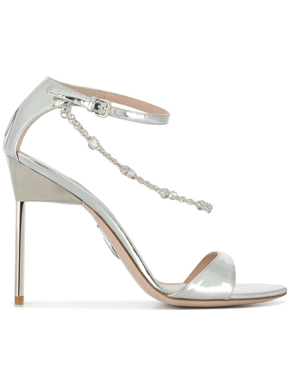 4b55d785410 Miu Miu Crystal Chain Stiletto Sandals in Metallic - Lyst