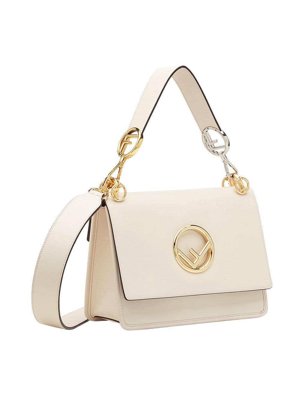 42140244f91f Fendi White Kan I F Leather Shoulder Bag in White - Lyst