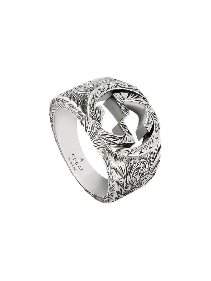 0d29fdd91 Lyst - Gucci Interlocking G Ring in Metallic for Men