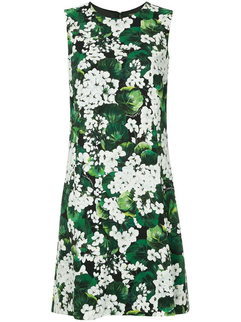 8d92f0c2 Dolce & Gabbana White Geranium Printed Cady Dress in Green - Lyst