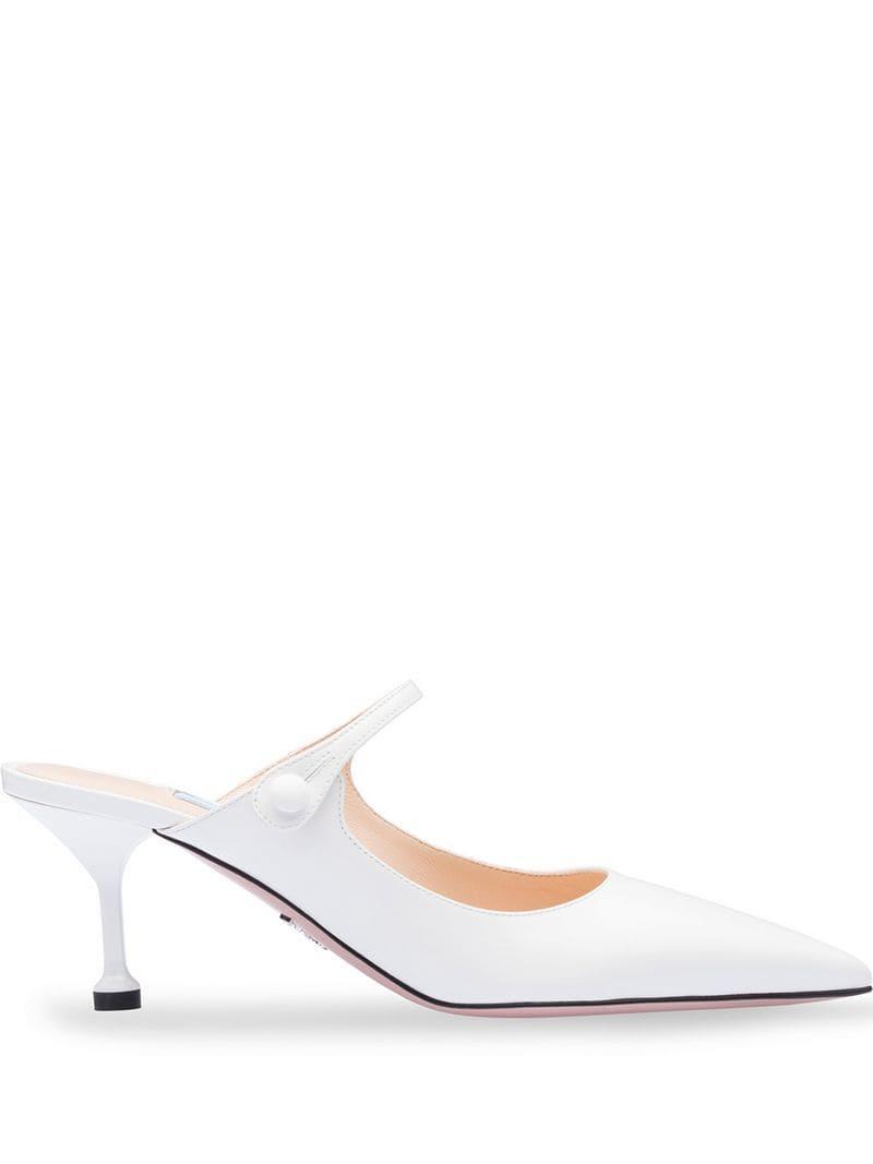 b8e5340699eca Lyst - Prada Low-heel Pumps in White