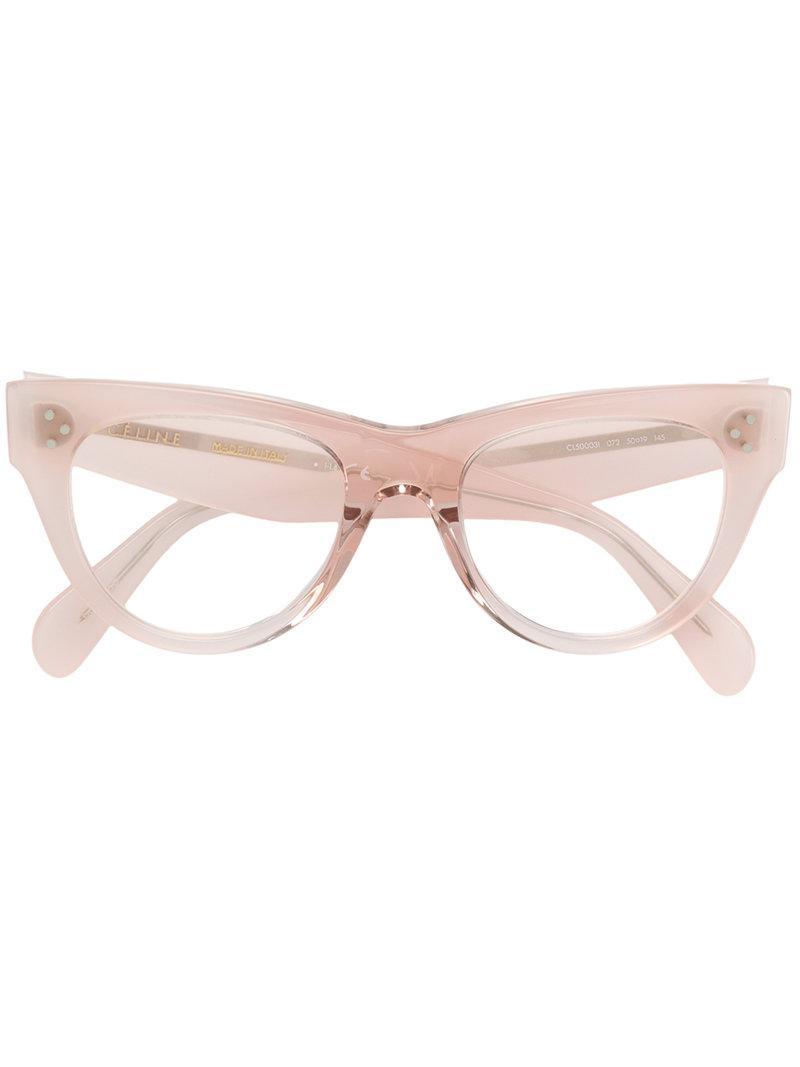 60714d0e8 Céline Cat Eye Glasses in Pink - Lyst