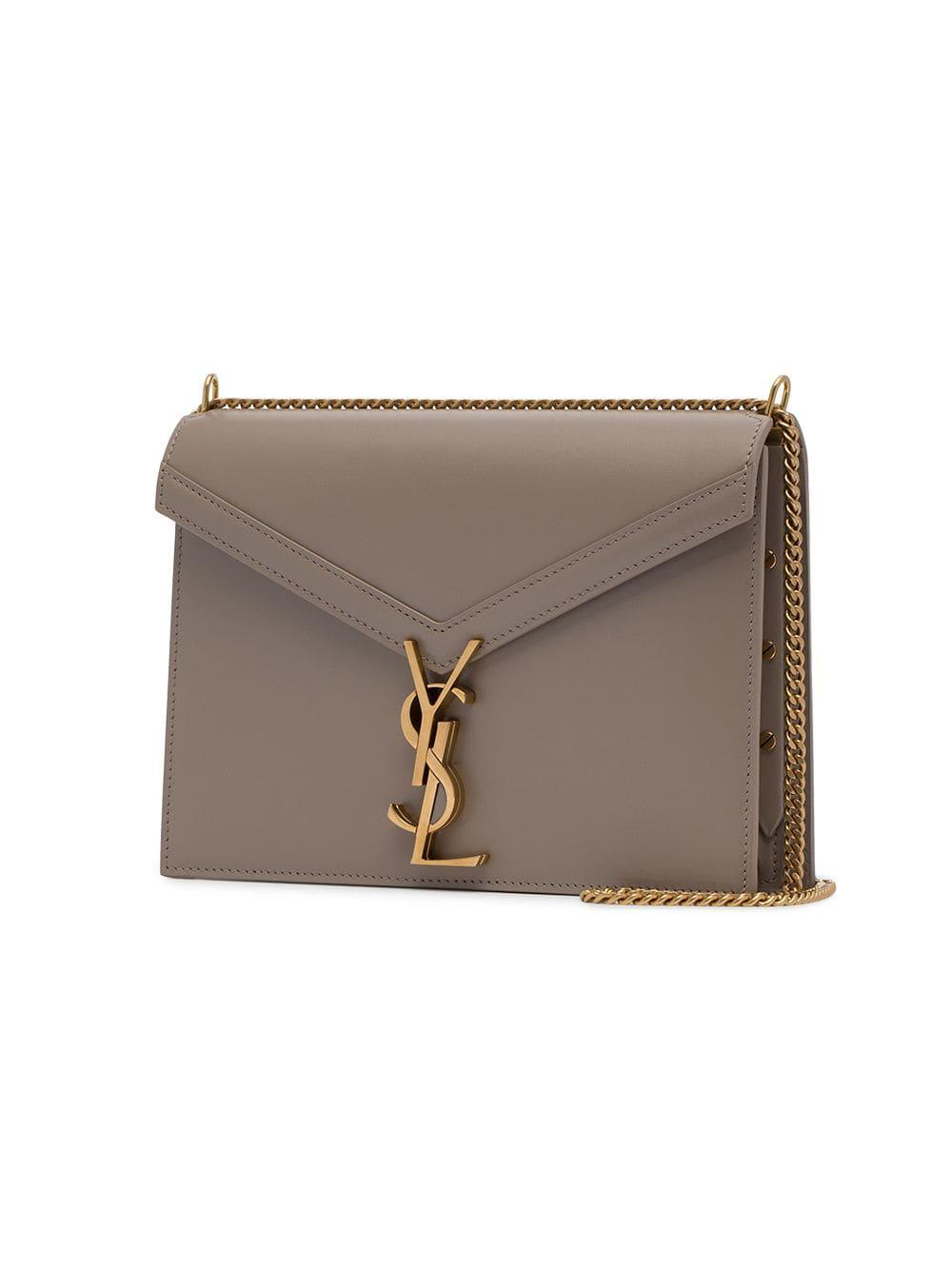 7898047105b Saint Laurent - Natural Beige Cassandre Logo Leather Shoulder Bag - Lyst.  View fullscreen
