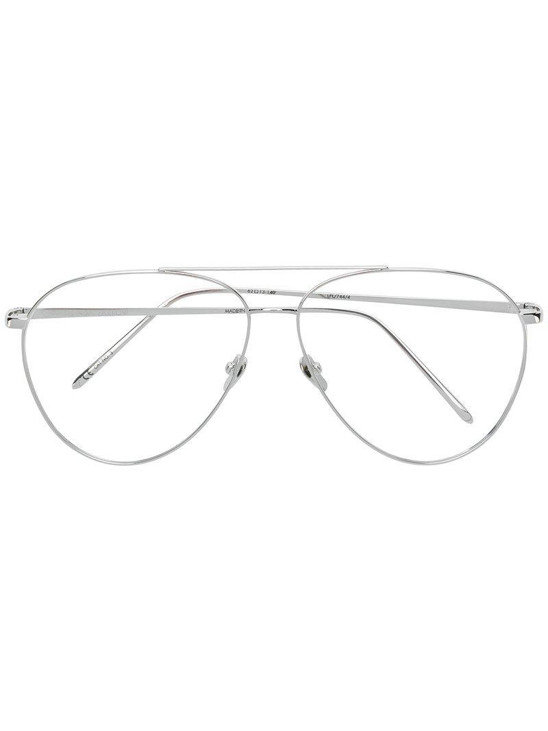 Linda Farrow. Gafas de sol estilo aviador de mujer de color negro f20311324363