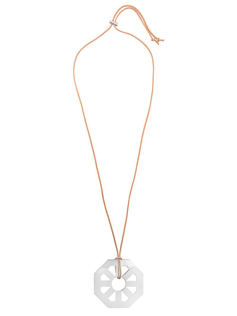 Geo Multi Necklace in Tory Silver Brass and Leather Tory Burch oBVM5IS