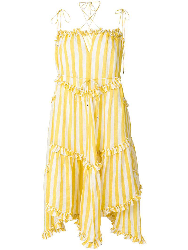 Lyst Zimmermann Ruffle Trim Striped Dress In Yellow