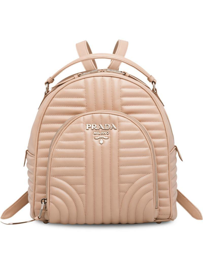 94555f690310 Lyst - Prada Diagramme Leather Backpack in Pink