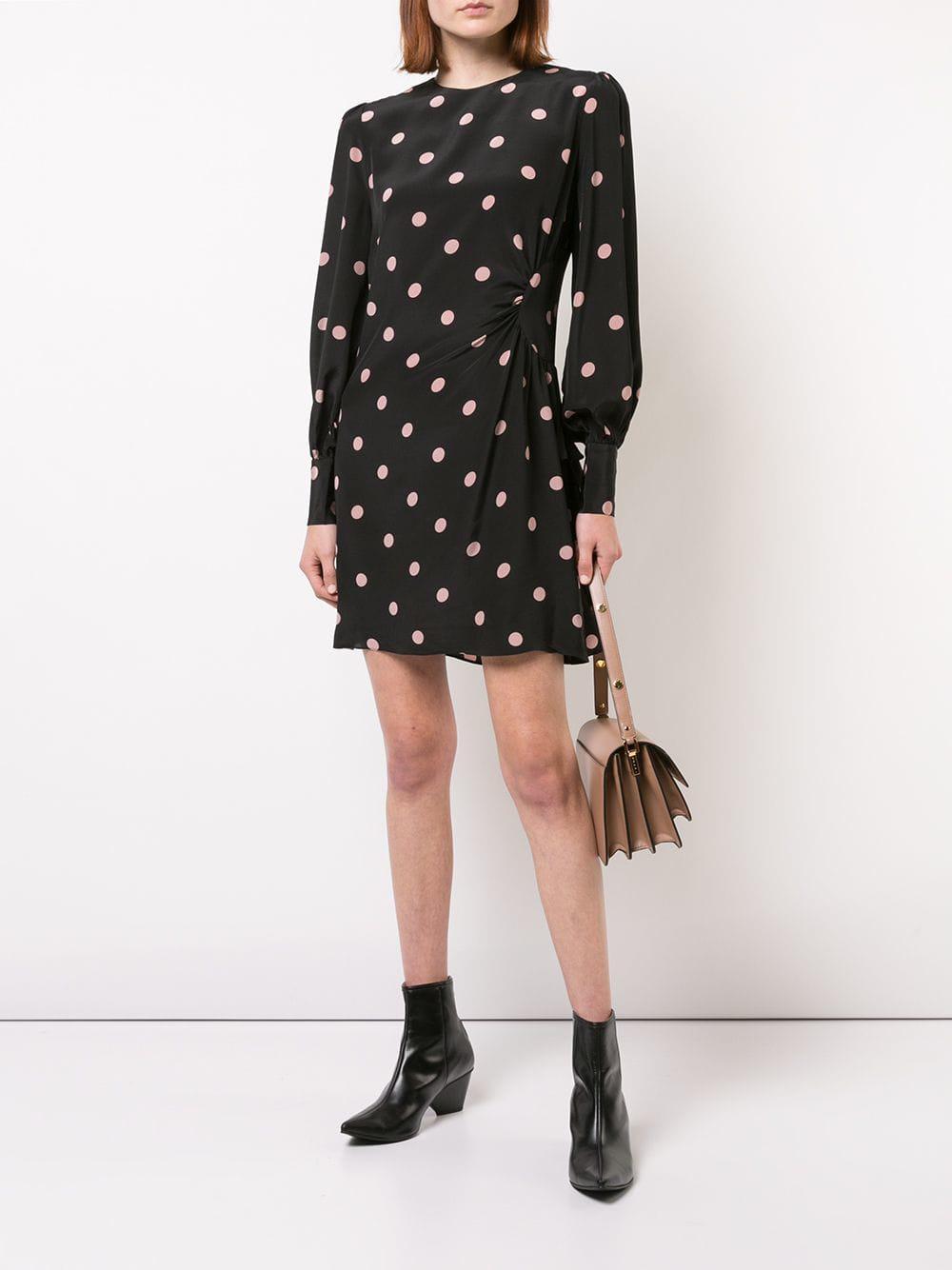 4fe0599358 Zimmermann Polka Dot Mini Dress in Black - Lyst
