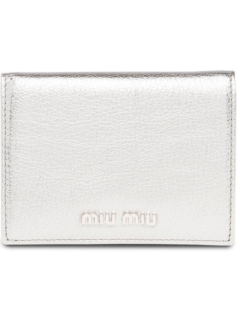 5a0514cdfa70 Lyst - Miu Miu Logo Plaque Billfold Wallet in Metallic