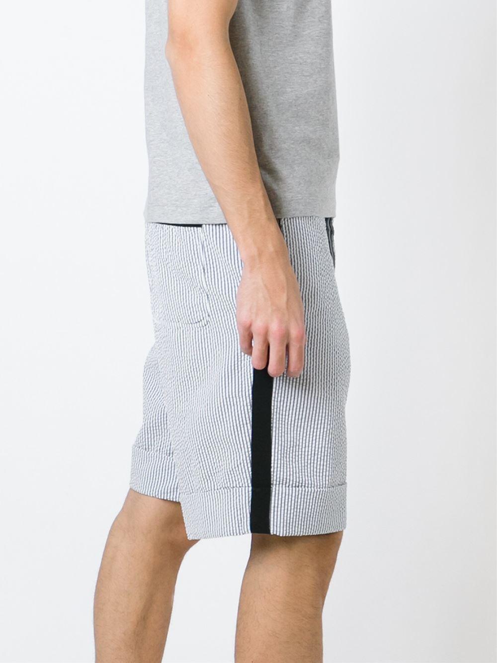 90516fa38fd8 Lyst - Moncler Gamme Bleu Striped Shorts in Blue for Men
