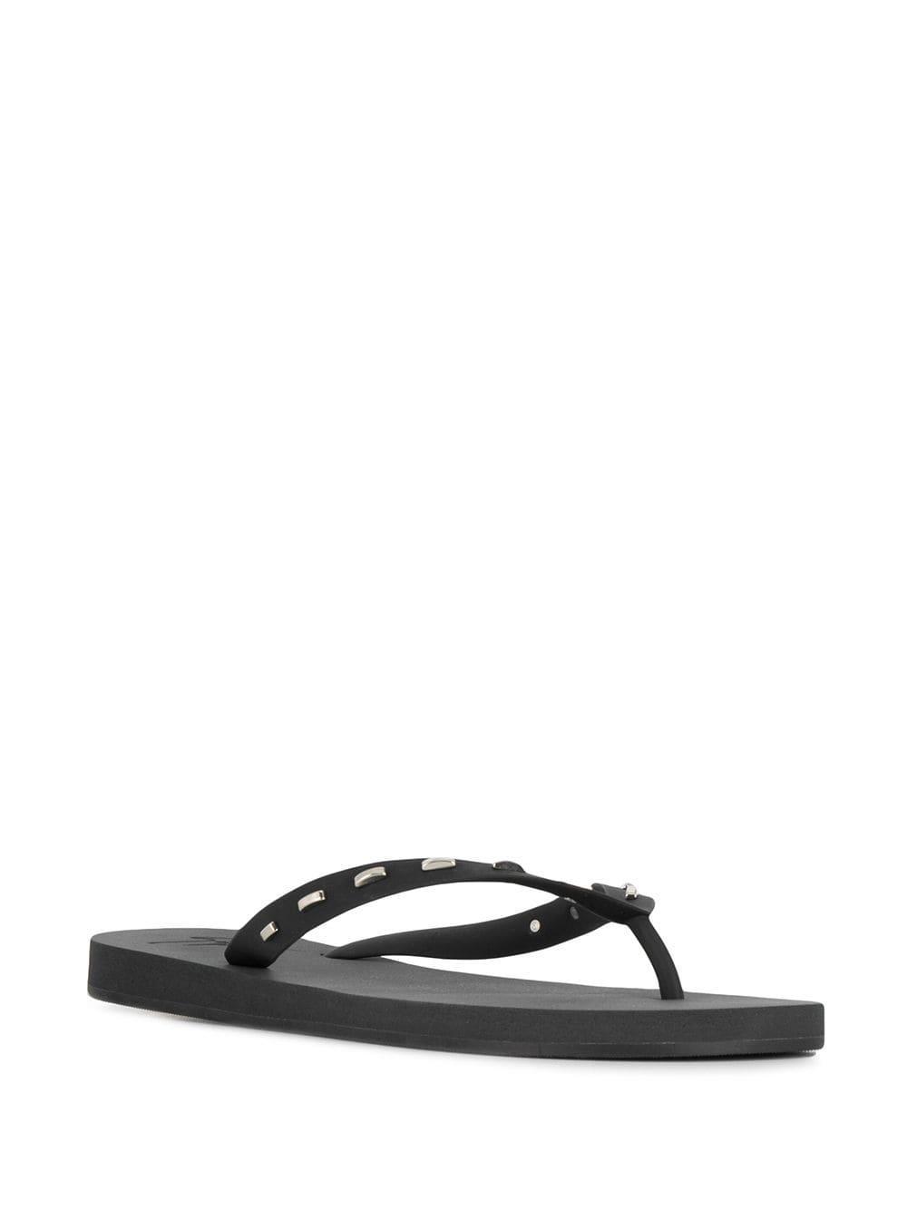 a511efce4 Giuseppe Zanotti Rectangle Studded Flip Flops in Black for Men - Lyst