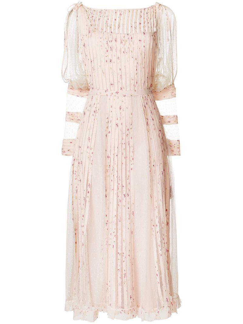 georgette pleated point desprit dress - Pink & Purple Red Valentino DIzp9gd1P