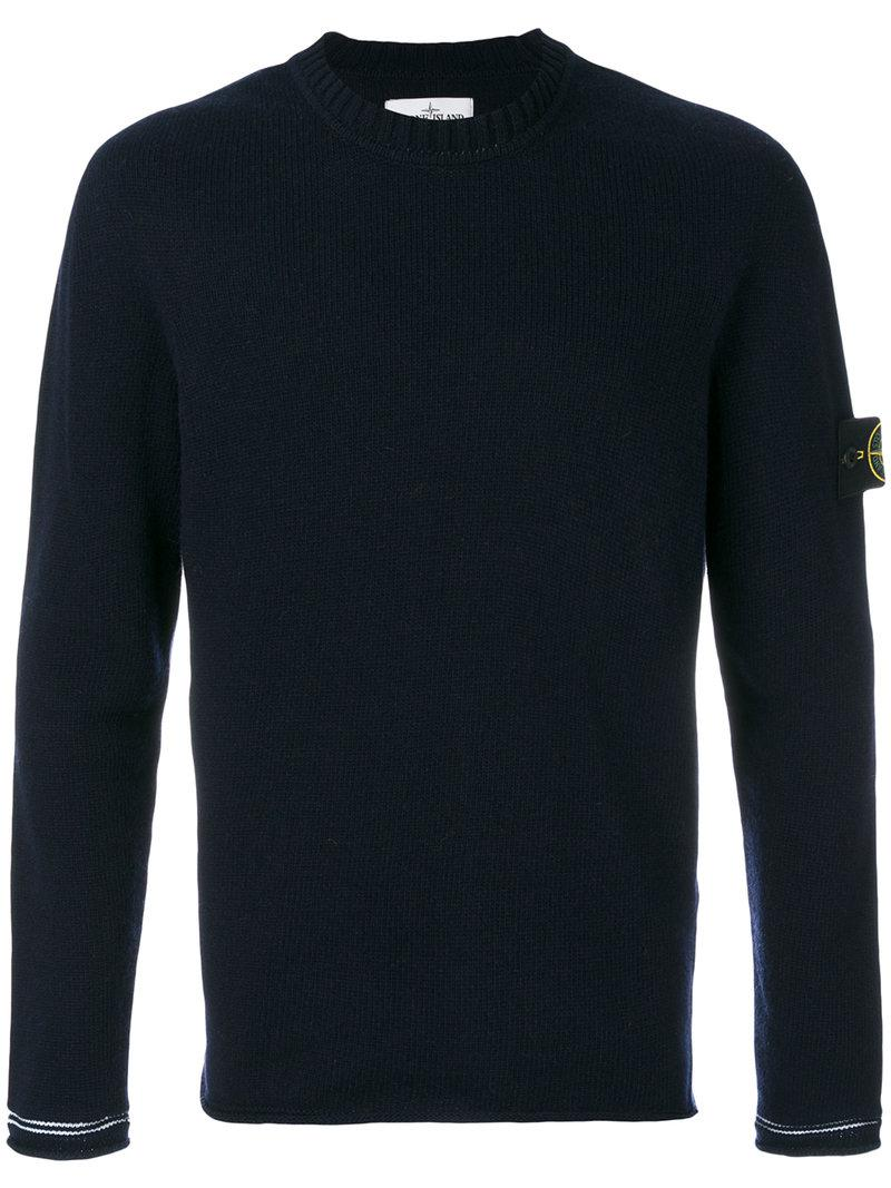 stone island long sleeve pullover in blue for men lyst. Black Bedroom Furniture Sets. Home Design Ideas
