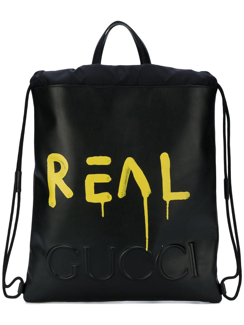 Gucci Ghost Drawstring Backpack in Black for Men - Lyst a57b6d3147