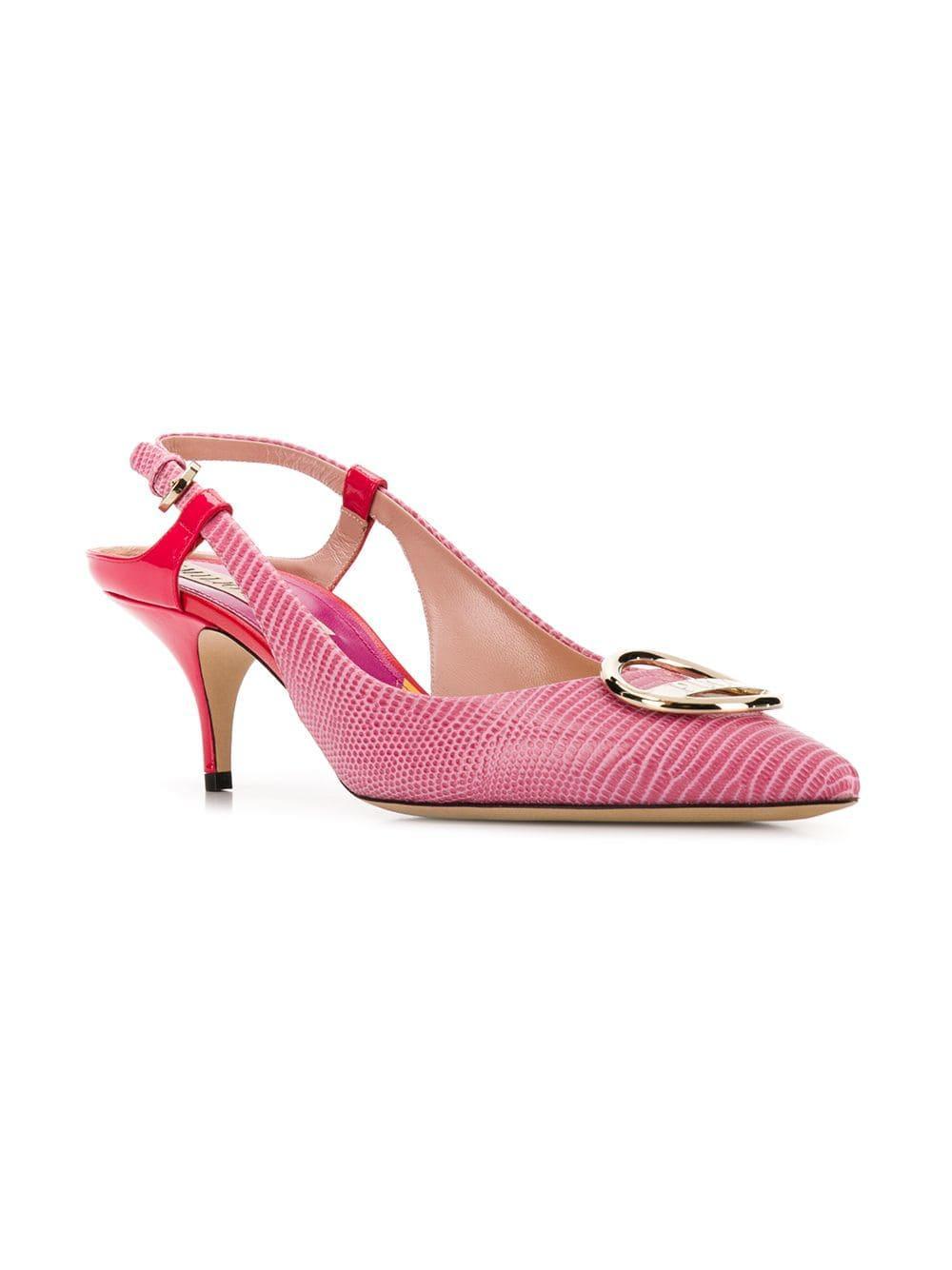 e9d12b1a267 Lyst - Emilio Pucci Pink Lizard Effect Slingback Pumps in Pink