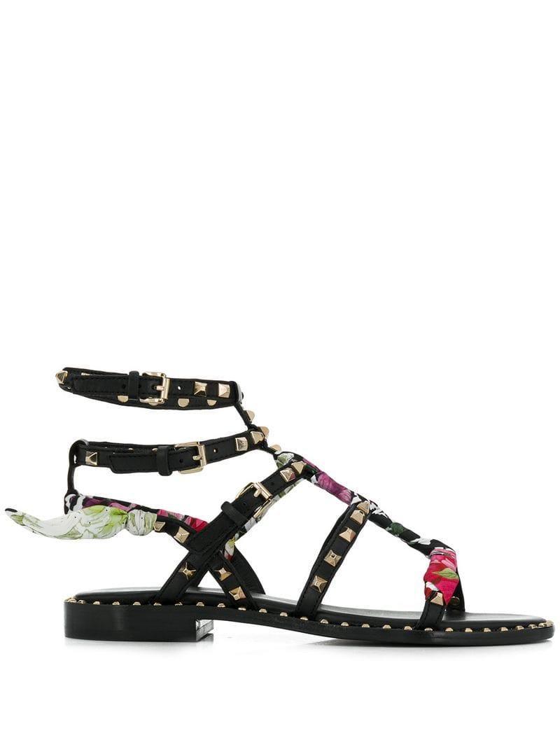 43fbead7e Ash Flat Studded Sandals in Black - Lyst