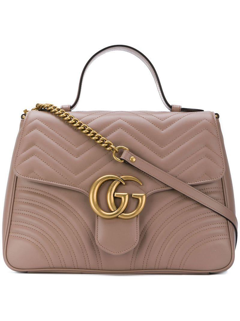 f9e27a30bc5c01 Gucci GG Marmont Medium Top Handle Bag in Brown - Lyst