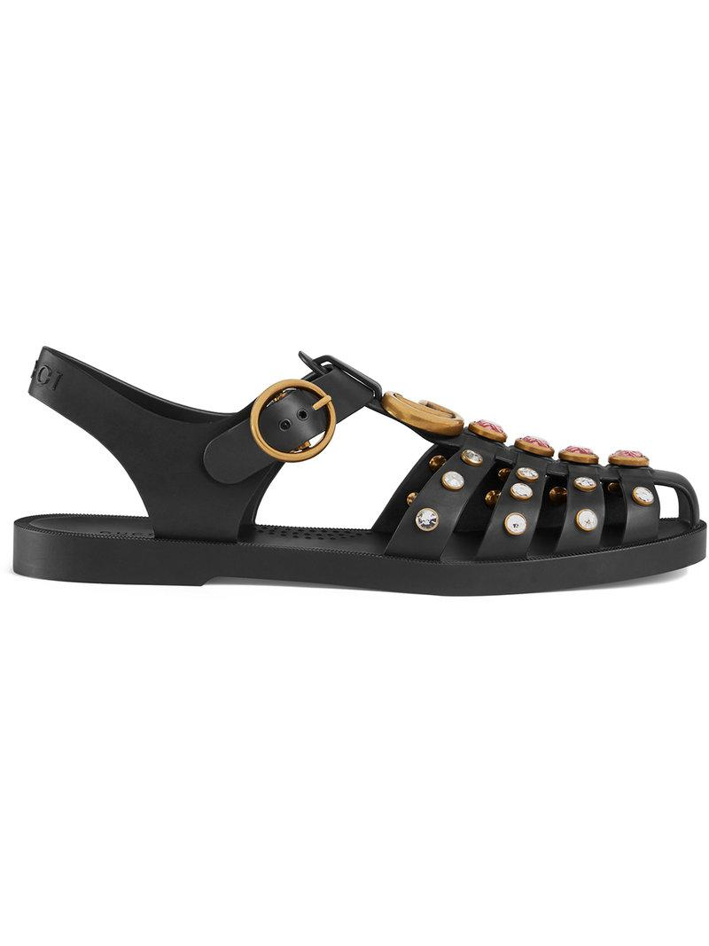0b3aed7a02cb Gucci Rubber Sandal With Crystals in Black - Save 6% - Lyst