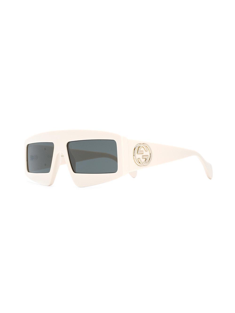569afb3a28 Gucci Square Frame Sunglasses in White - Lyst