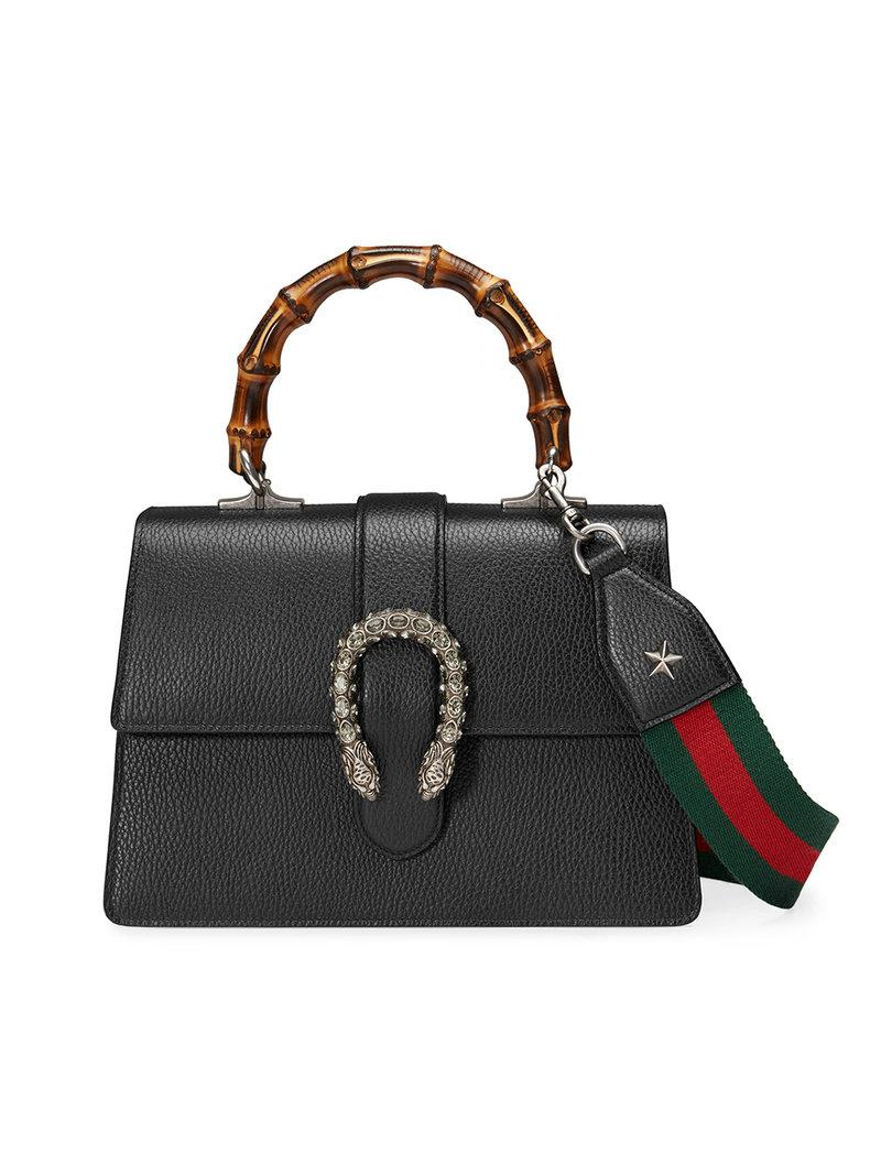 9d75e5bde036 Gucci Dionysus Leather Top Handle Bag in Black - Save 24% - Lyst