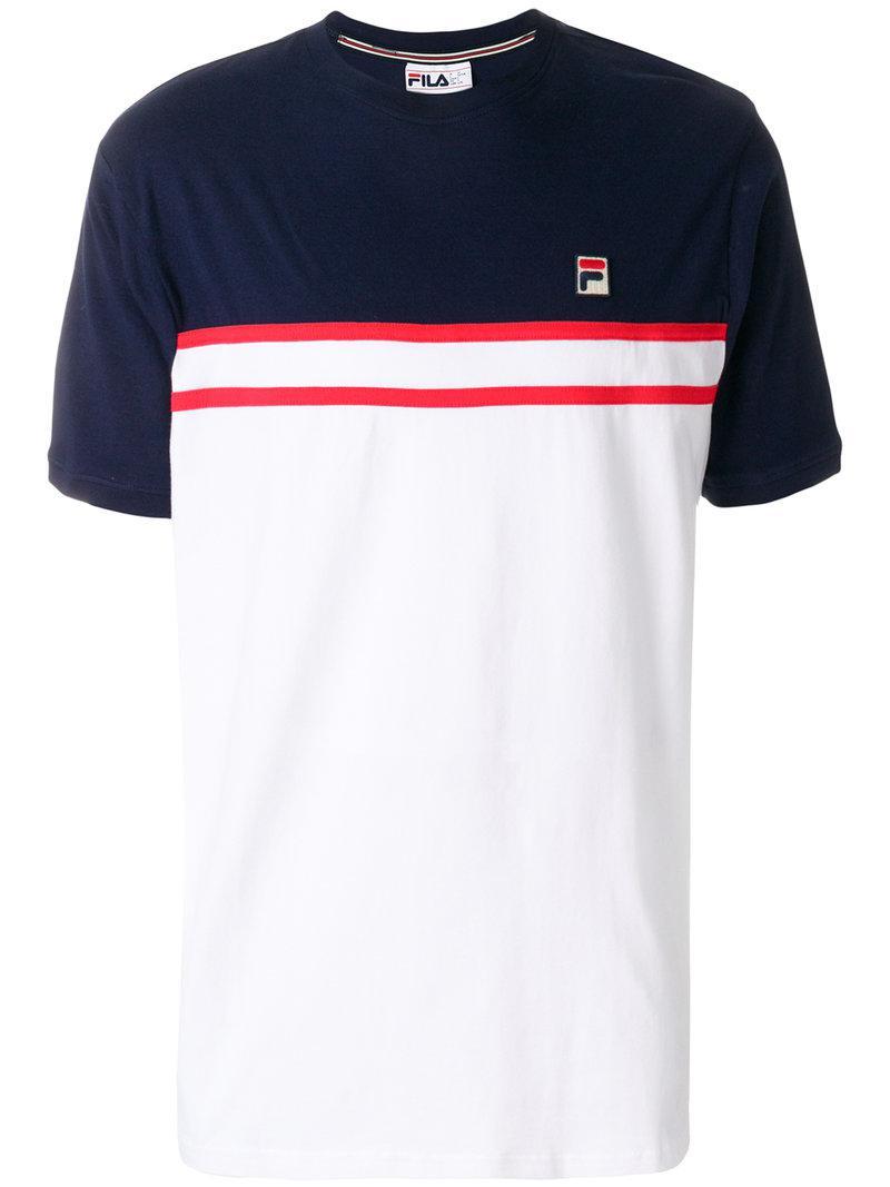 f4ac4043ea Fila Striped Logo T-shirt in White for Men - Lyst