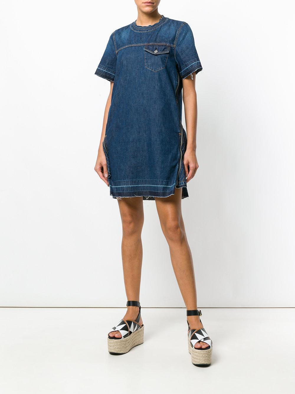 56e6e1855c Lyst - Sacai Denim Zip Embellished Dress in Blue - Save 58%