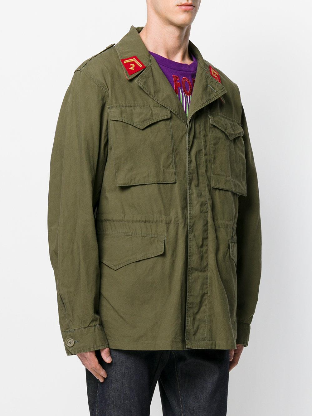 Lyst Gucci Printed Cargo Jacket In Green For Men