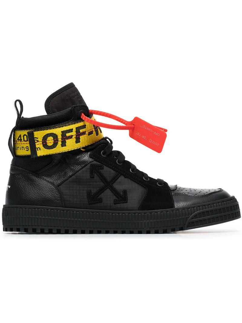 b452c3ad6b05 Off-White c o Virgil Abloh - Black Industrial Hi Top Leather Trainers for.  View fullscreen
