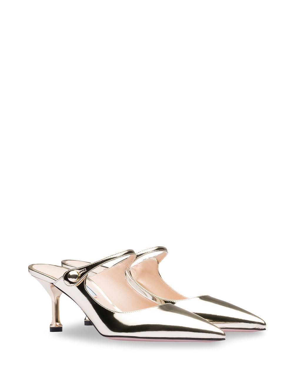62b96500fb4 Prada Metallic Low-heel Pumps in Metallic - Lyst