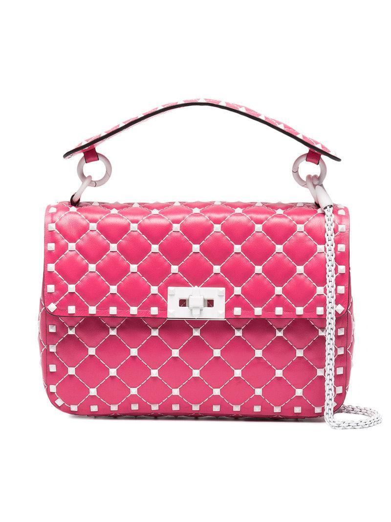 6a5d5d44ac9 Lyst - Valentino Free Rockstud Spike Medium Chain Bag in Pink