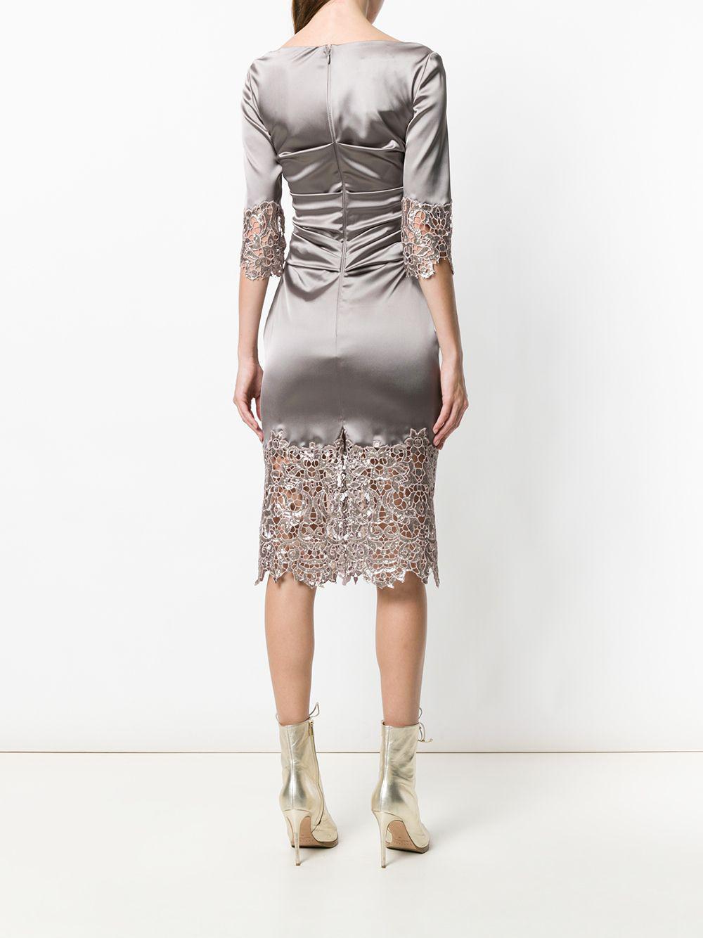 Panel Talbot vestido gris encaje Lyst Runhof de p7xqr4anp