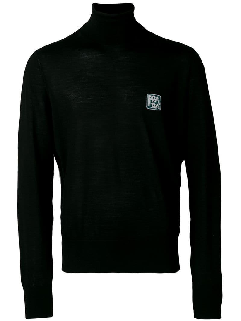 c8fd6cd82132 Lyst - Prada Logo Polo Neck in Black for Men