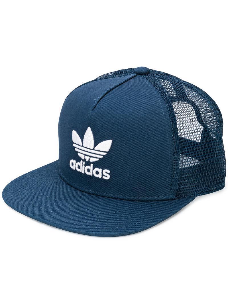 57bd1e5b adidas Originals Trefoil Heritage Trucker Cap in Blue for Men - Lyst