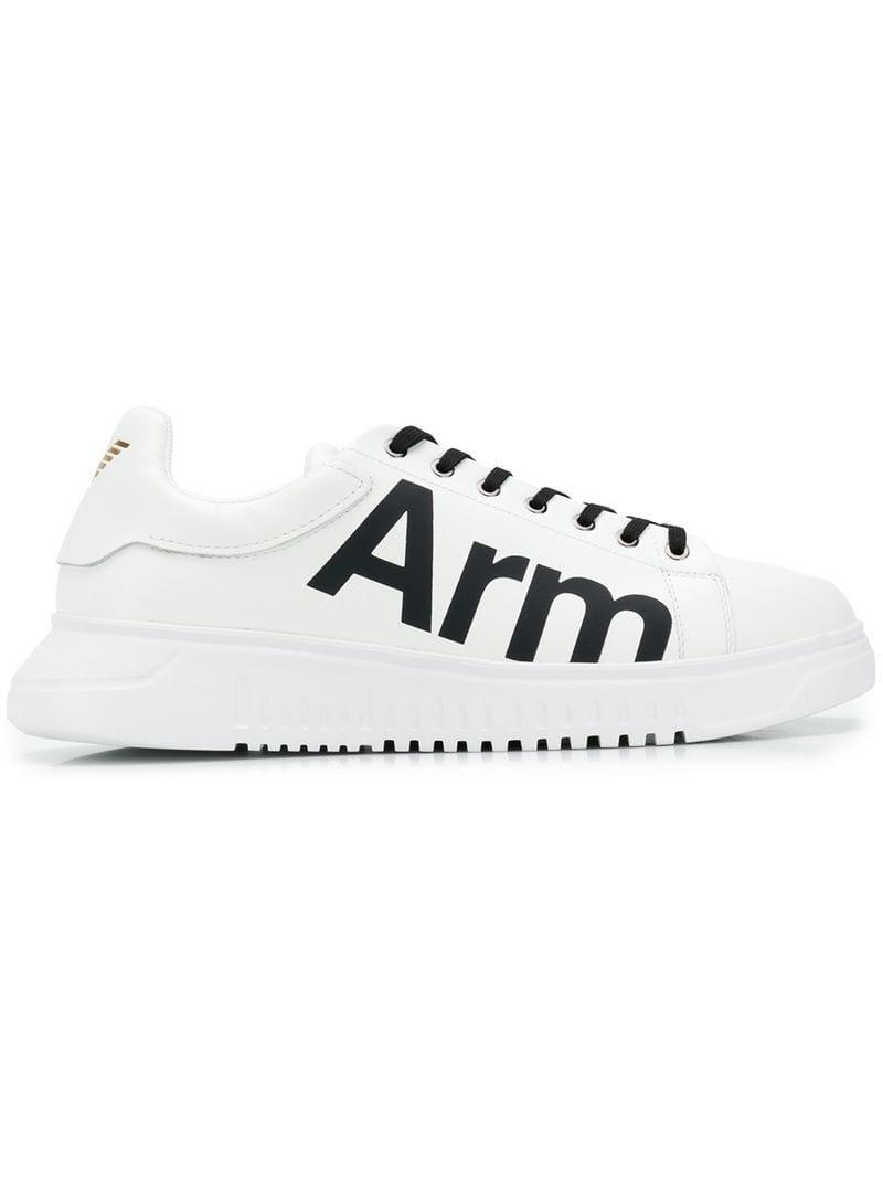 0caeb127a2226 Lyst - Emporio Armani Arm Slogan Sneakers in White for Men - Save 25%