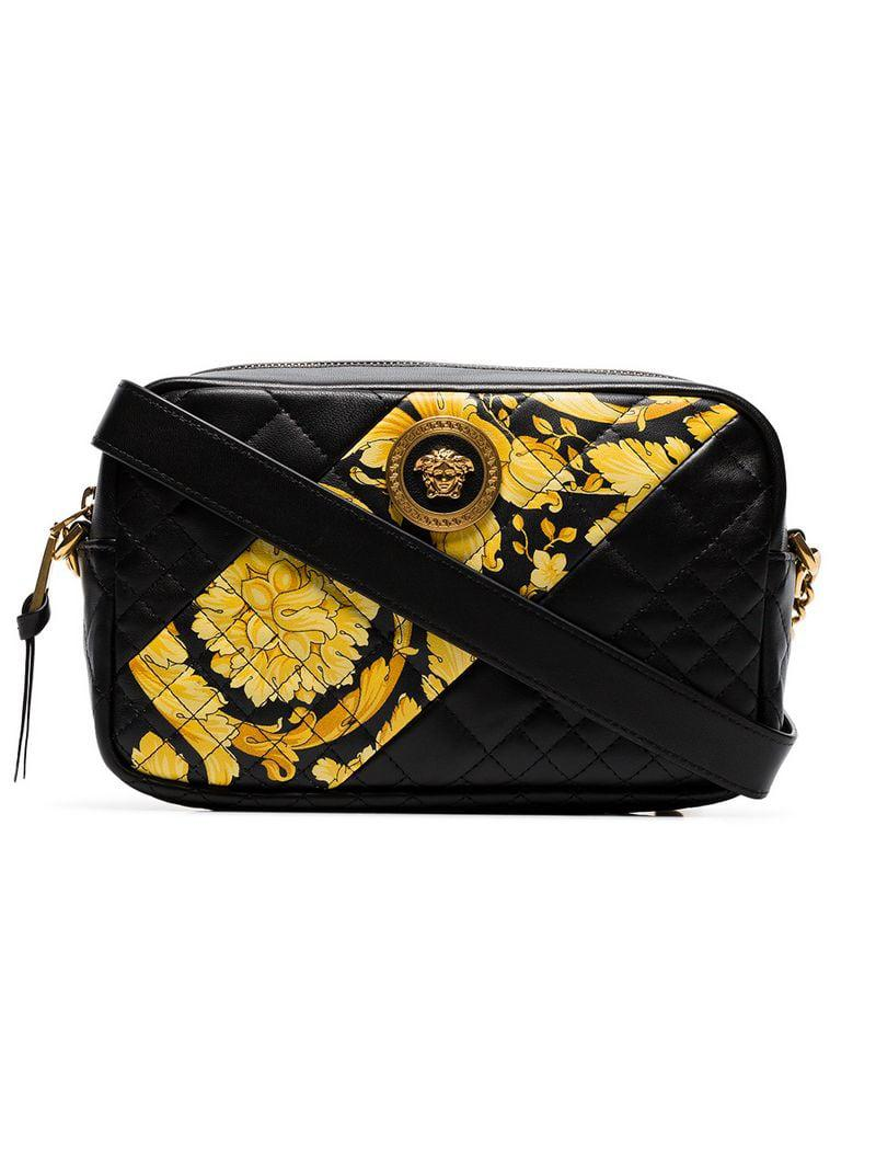 Lyst - Versace Black Quilted Leather Baroque Cross Body Bag in Black ... 87164a3791cd9