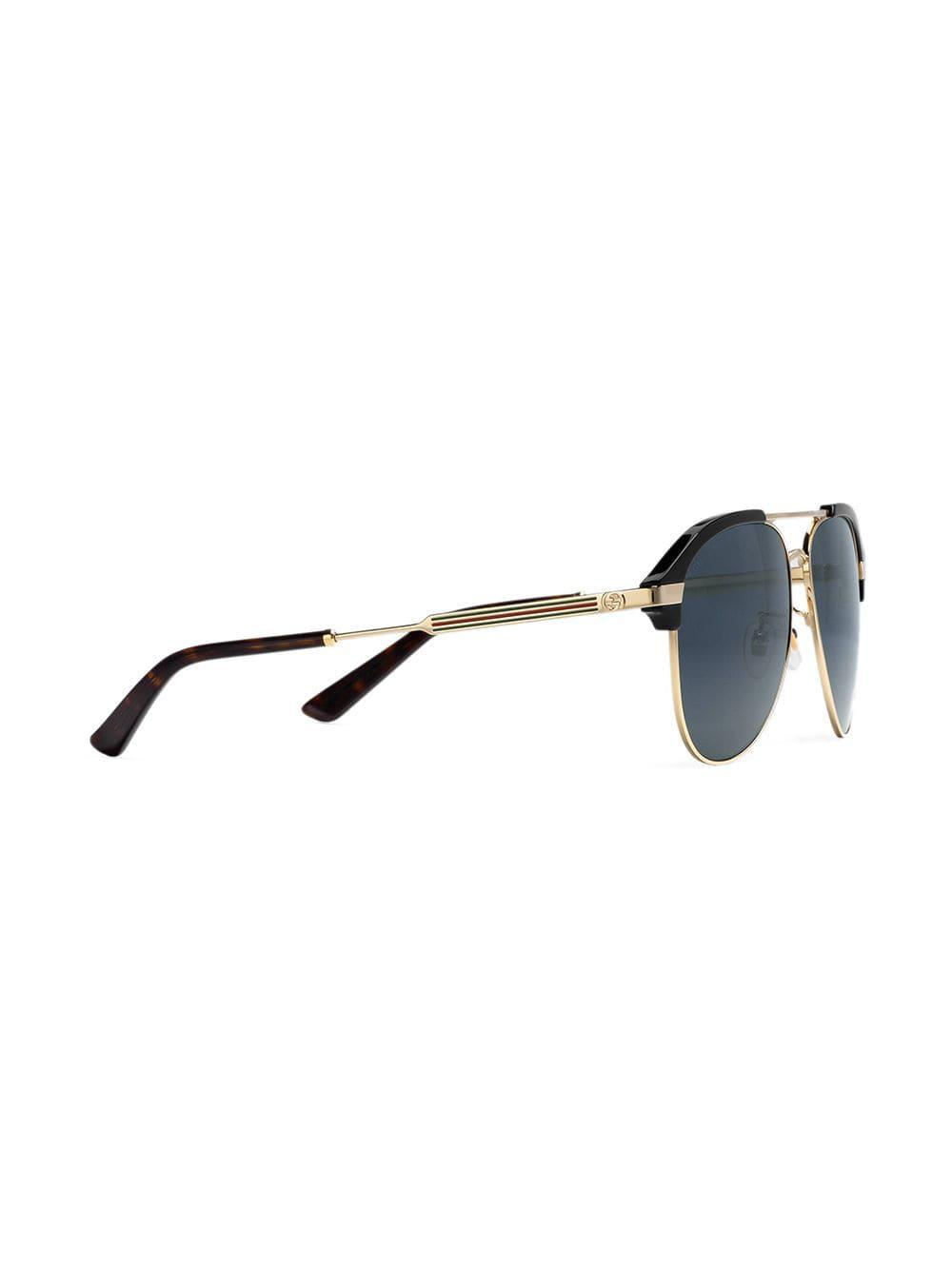 943458ab1d3 Gucci - Metallic Specialized Fit Aviator Metal Sunglasses for Men - Lyst.  View fullscreen
