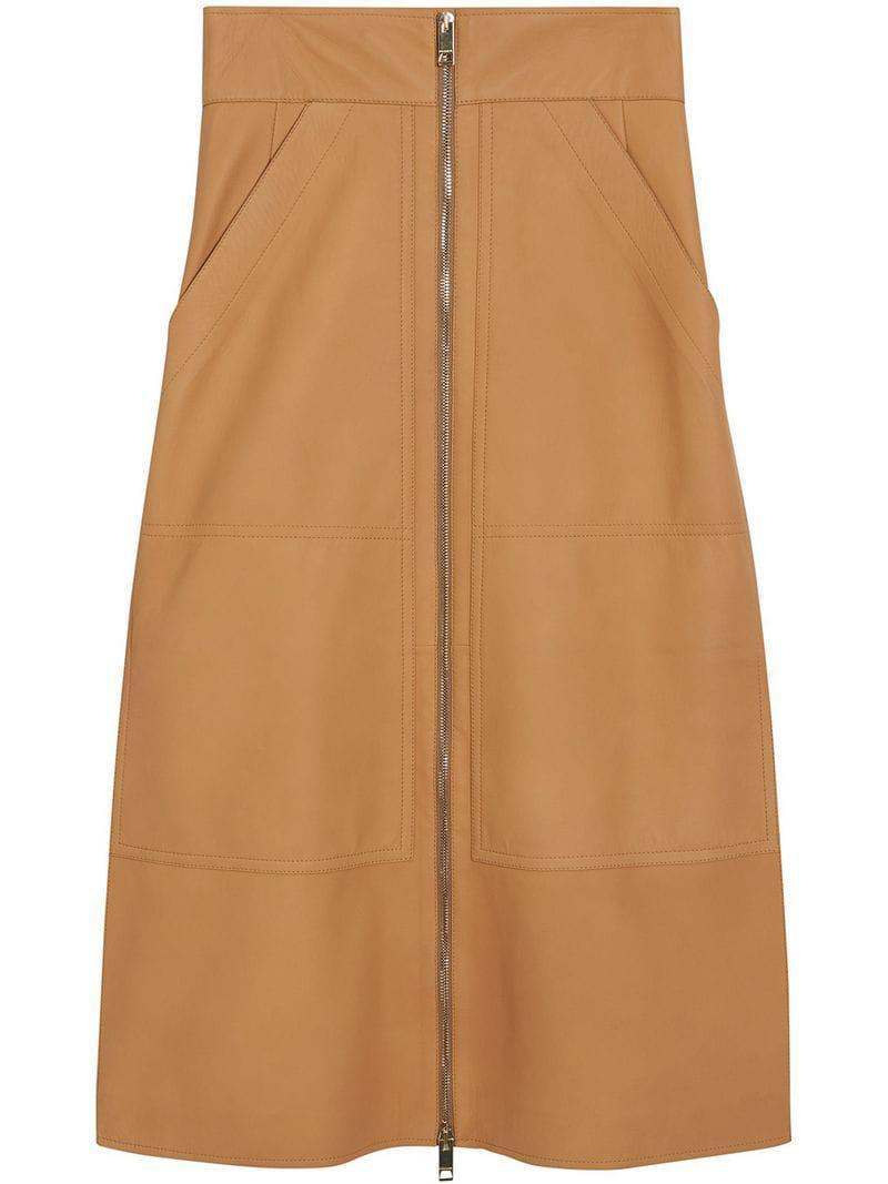 fa5642ed18 Burberry Lambskin High-waisted Skirt - Lyst