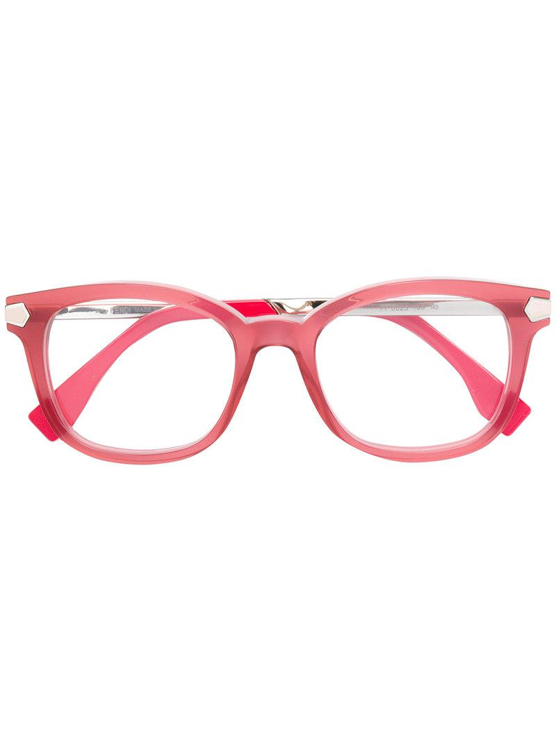 92ad564565807 Lyst - Fendi Square Frame Glasses in Pink