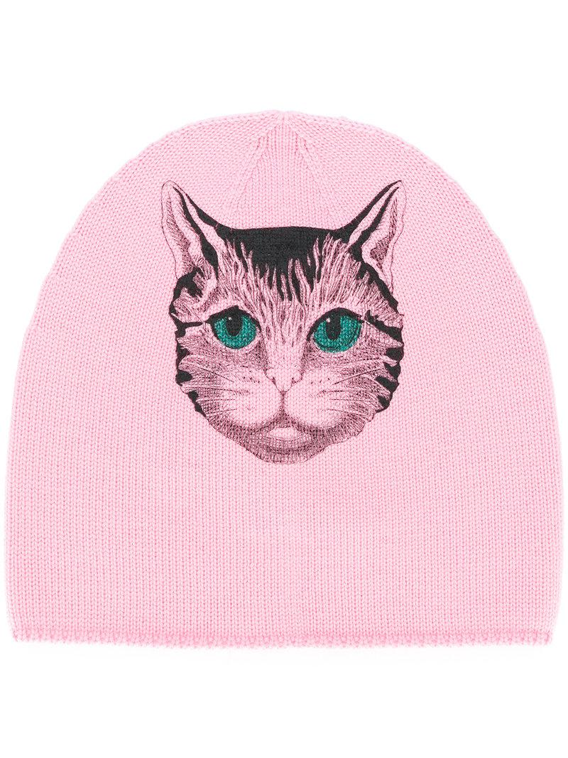 aaafaced3 Lyst - Gucci Mystic Cat Beanie in Pink