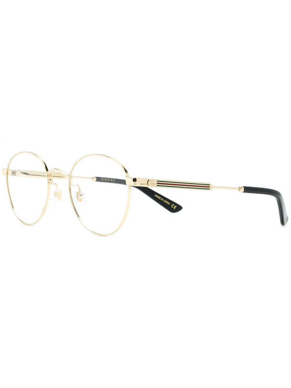10b07eae028da Gucci Round Glasses in Metallic for Men - Lyst
