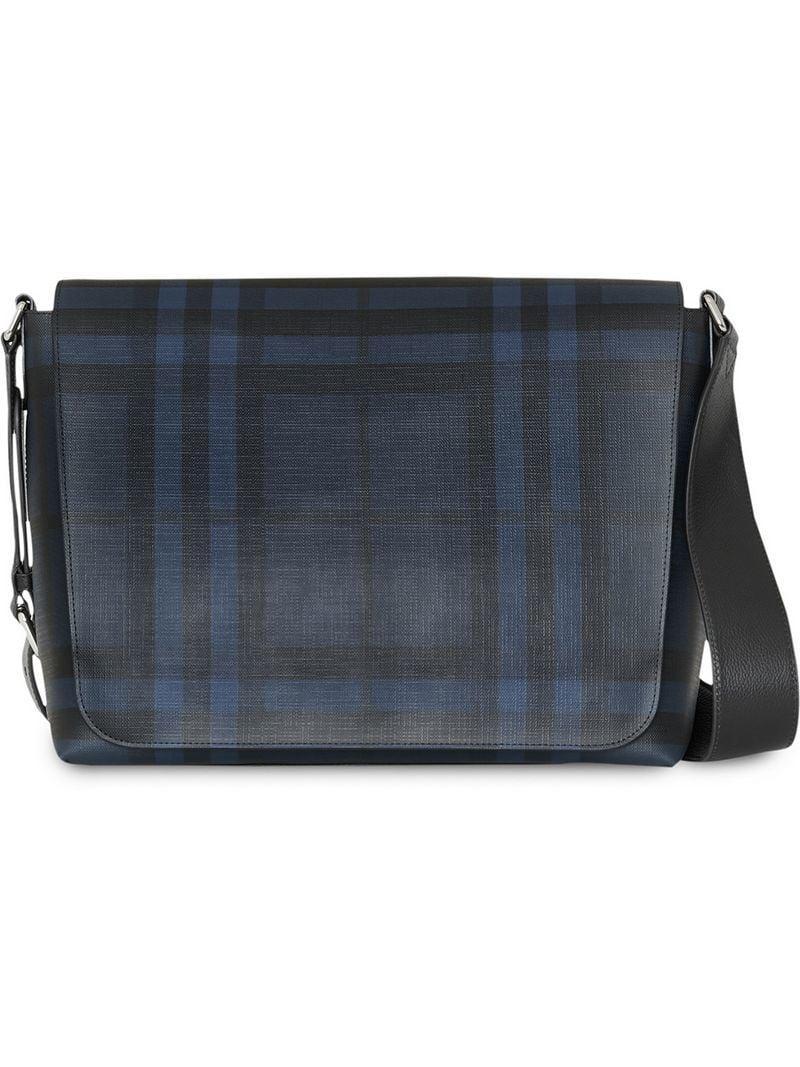 Burberry Large London Check Messenger Bag in Blue for Men - Lyst 46d25bb38f0ba