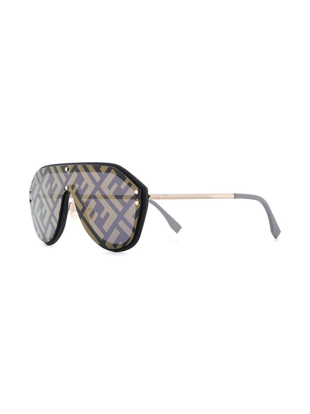 39469fcd077c4 Fendi Eyeline Aviator Sunglasses in Black - Lyst