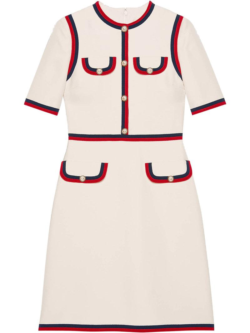 4634e38d77c3 Gucci Wool Silk Dress With Web in White - Lyst