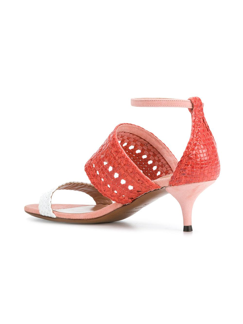 af66e2c3dcb Lyst - L Autre Chose Woven Detail Kitten Heels in Red