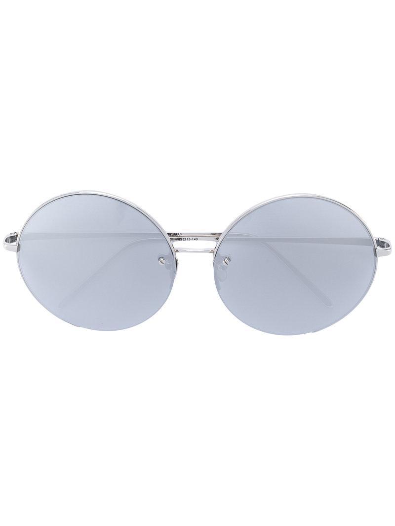 320ce00cb92 Linda Farrow Round Frame Sunglasses in Metallic - Lyst