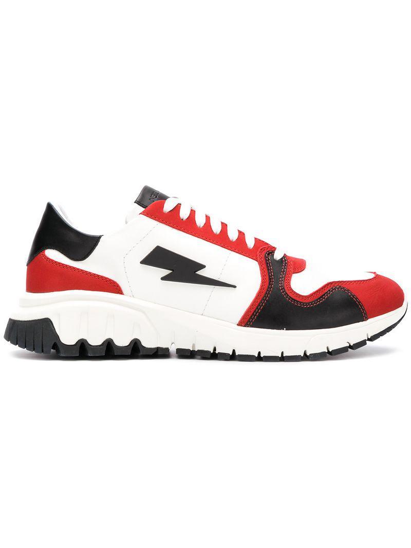 a42b8ca26f4e Lyst - Neil Barrett Lightning Bolt Sneakers in White for Men - Save 57%