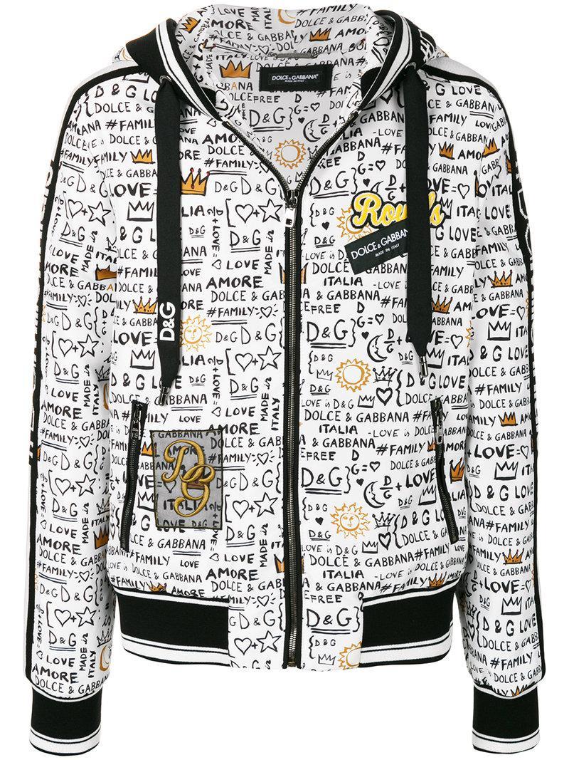 62f14f183bbedd Lyst - Sweat zippé à capuche imprimé Dolce   Gabbana pour homme en ...