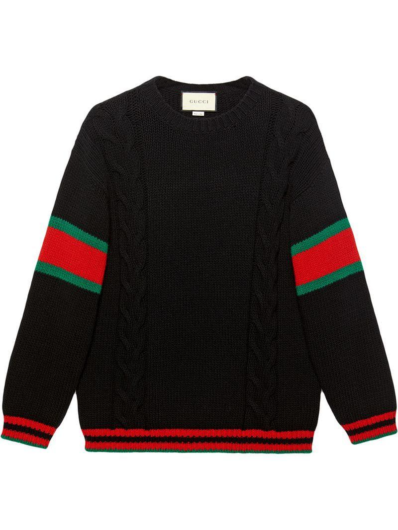 689b4390351e Gucci - Black Cable Knit Sweater for Men - Lyst. View fullscreen
